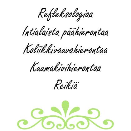Hoivakäpälän hoidot: Refleksologia, intialainen päähieronta, koliikkivauvahieronta, kuumakivihieronta, kuivakuppaus sekä reiki